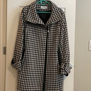 Calvin Klein Houndstooth Coat W/Faux-Leather Trim